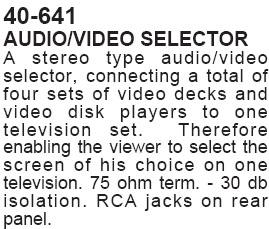 Audio/Video Selector (Calrad 40-641)