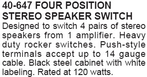 Four Position Stereo Speaker Switch (Calrad 40-647)