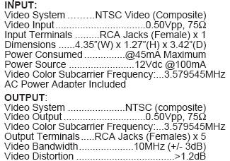 1 X 5 NTSC VIDEO CONDITIONER (Calrad 40-812)