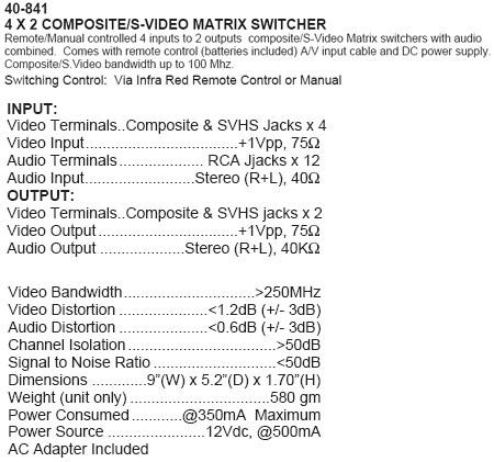 4 X 2 COMPOSITE/S-VIDEO MATRIX SWITCHER (Calrad 40-841)